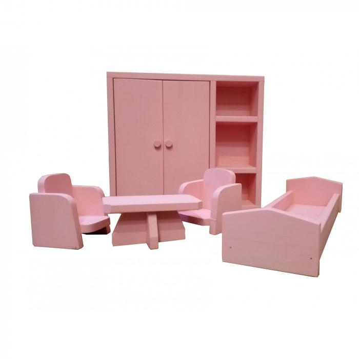 Set mobilier dormitor din lemn roz pentru papusi [0]