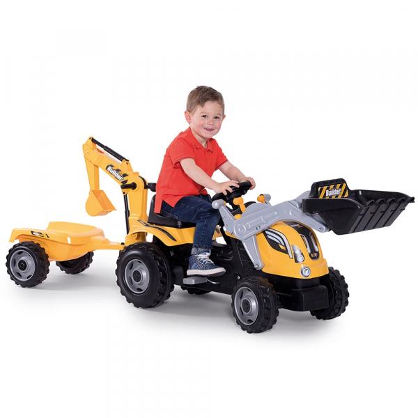 Tractor cu pedale si remorca Smoby Builder Max galben 2