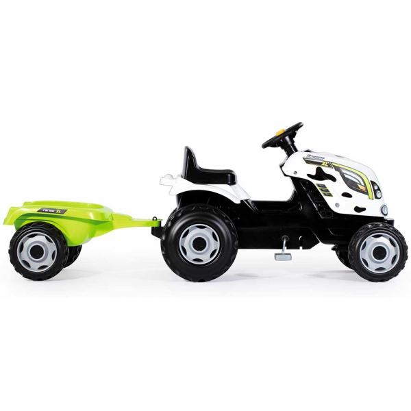 Tractor cu pedale si remorca Smoby Farmer XL alb negru [2]