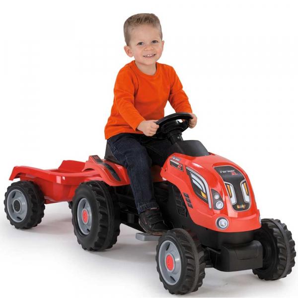 Tractor cu pedale si remorca Smoby Farmer XL rosu [6]