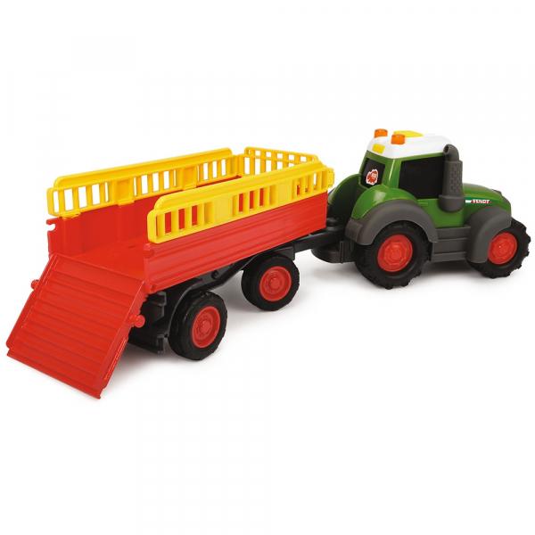 Tractor Dickie Toys Happy Fendt Animal Trailer cu remorca si figurina 2