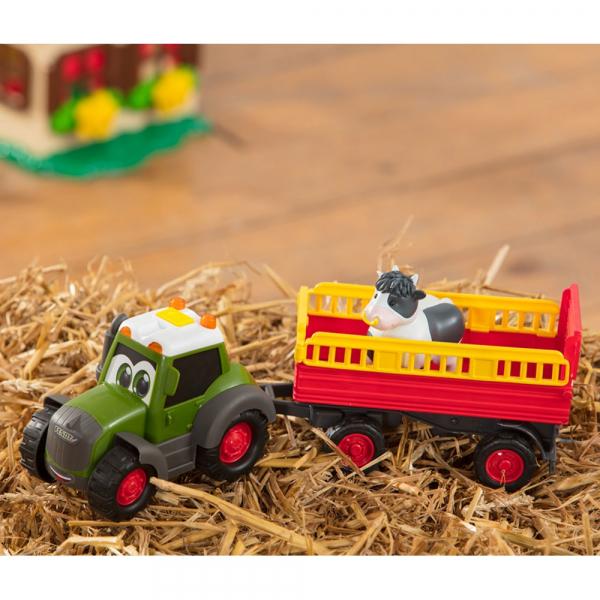 Tractor Dickie Toys Happy Fendt Animal Trailer cu remorca si figurina 7