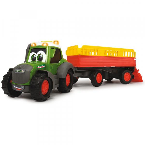 Tractor Dickie Toys Happy Fendt Animal Trailer cu remorca si figurina 1