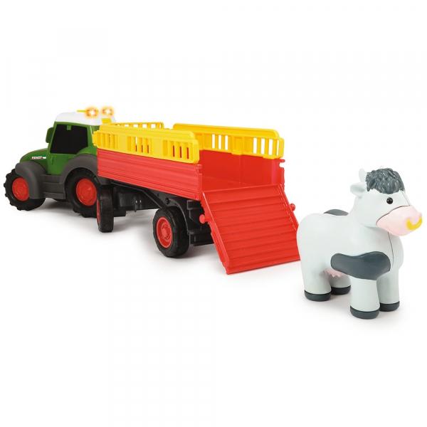 Tractor Dickie Toys Happy Fendt Animal Trailer cu remorca si figurina 4