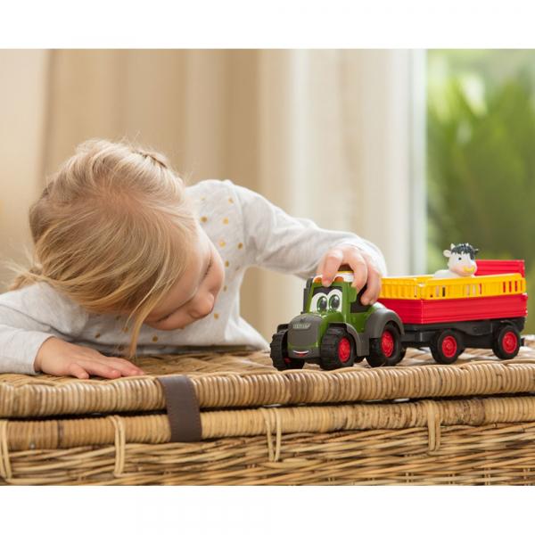 Tractor Dickie Toys Happy Fendt Animal Trailer cu remorca si figurina 6