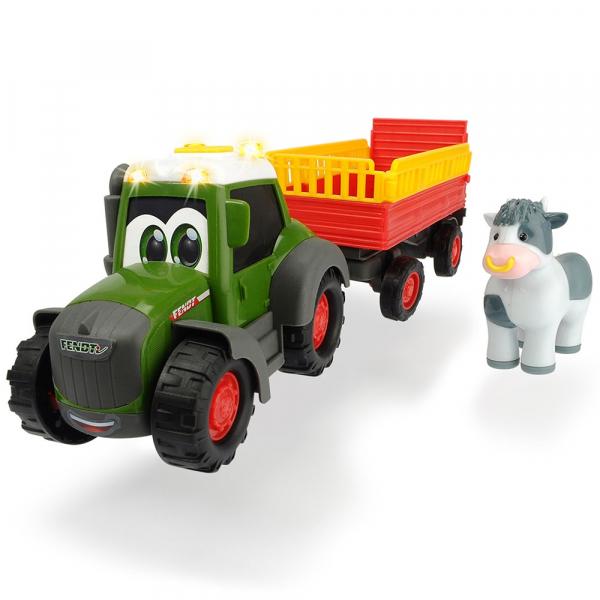 Tractor Dickie Toys Happy Fendt Animal Trailer cu remorca si figurina 0