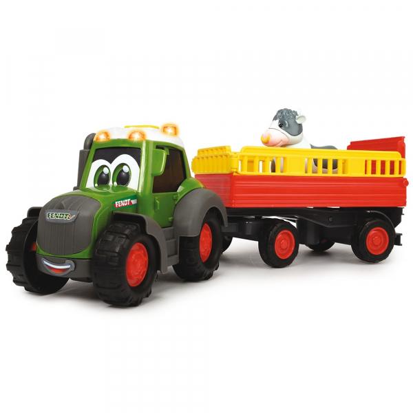 Tractor Dickie Toys Happy Fendt Animal Trailer cu remorca si figurina 5