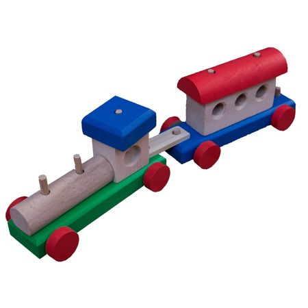 Tren din lemn cu un vagon 0