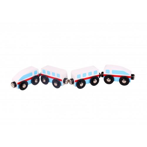 Trenulet lemn alb si albastru cu magnet 0