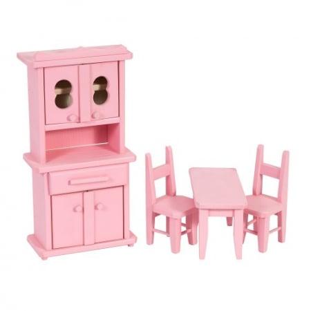 Set mobilier bucatarie din lemn roz pentru papusi0