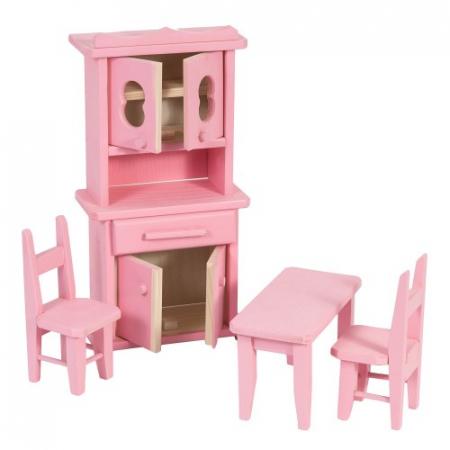 Set mobilier bucatarie din lemn roz pentru papusi1