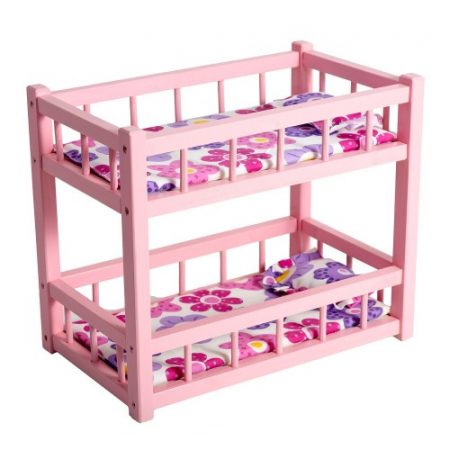 Patut din lemn roz cu etaj pentru papusi0