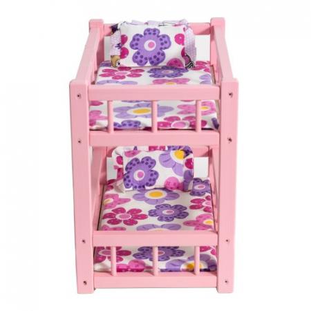 Patut din lemn roz cu etaj pentru papusi1
