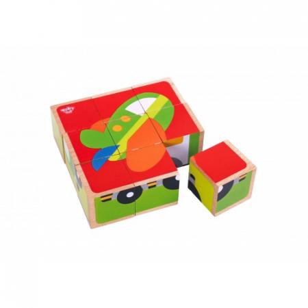 Puzzle vehicule cuburi colorate din lemn0