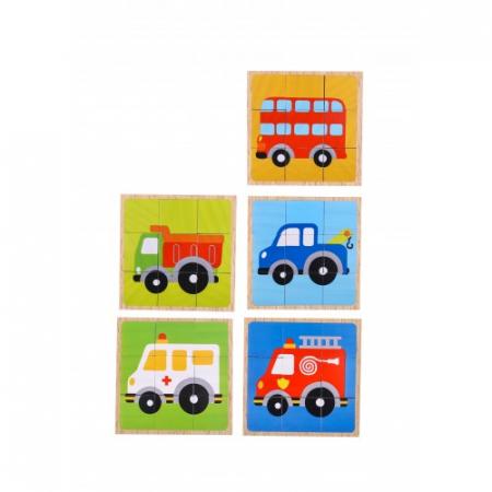 Puzzle vehicule cuburi colorate din lemn1