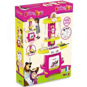 Bucatarie Smoby Masha and The Bear Cooky roz cu verde [5]