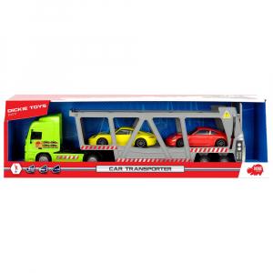 Camion Dickie Toys cu trailer si 2 masini Porsche5
