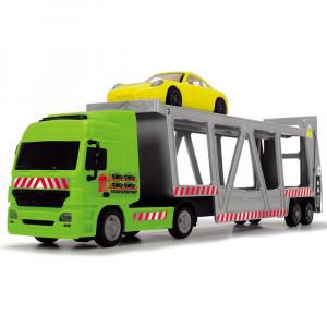 Camion Dickie Toys cu trailer si 2 masini Porsche1