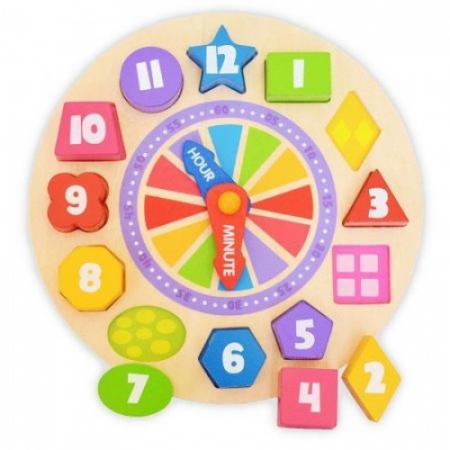 Ceas cifre colorate si puzzle lemn1