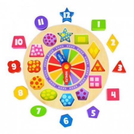 Ceas cifre colorate si puzzle lemn2