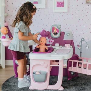 Centru de ingrijire pentru papusi Smoby Baby Nurse Doll`s Play Center mov cu 23 accesorii [3]
