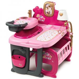 Centru de ingrijire pentru papusi Smoby Baby Nurse Doll`s Play Center roz cu 23 accesorii [1]