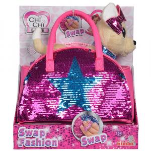 Jucarie de plus Simba Catel Chi Chi Love Swap fashion 20 cm cu geanta6