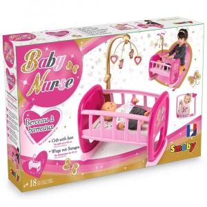 Leagan pentru papusa Smoby Baby Nurse roz cu carusel [2]