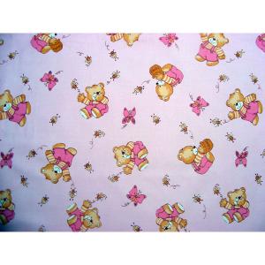 Lenjerie patut Hubners Ursulet cu albinute 5 piese roz1