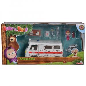 Masina Simba Masha and the Bear Ambulance cu accesorii7