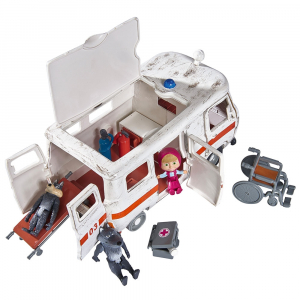 Masina Simba Masha and the Bear Ambulance cu accesorii2