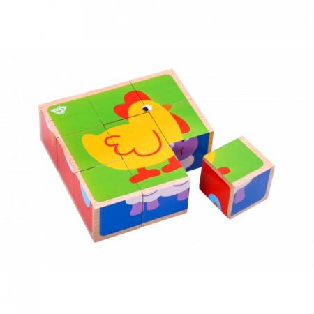 Puzzle animale cuburi colorate din lemn0