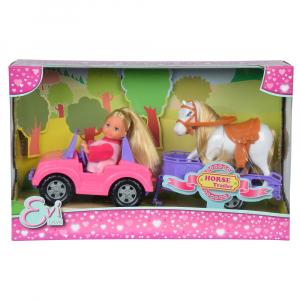 Papusa Simba Evi Love 12 cm Evi Horse Trailer cu masina, trailer si calut2