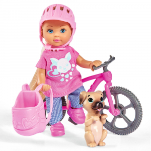 Papusa Simba Evi Love 12 cm Holiday Bike cu bicicleta si catelus0