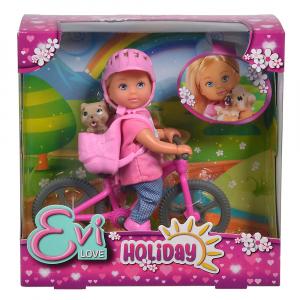 Papusa Simba Evi Love 12 cm Holiday Bike cu bicicleta si catelus [2]