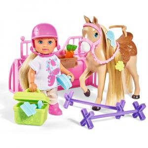 Papusa Simba Evi Love 12 cm Holiday Horse cu calut si accesorii0