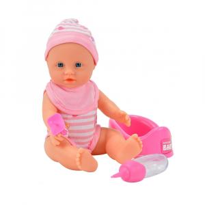 Papusa Simba New Born Baby 30 cm Bebe Darling cu olita si bavetica roz deschis1