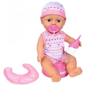 Papusa Simba New Born Baby 30 cm Bebe Darling cu olita si bavetica roz deschis0