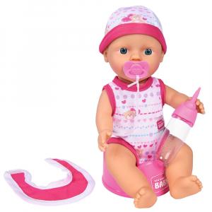 Papusa Simba New Born Baby 30 cm Bebe Darling cu olita si bavetica roz inchis0