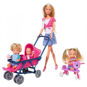 Papusa Simba Steffi Love 29 cm Baby World cu 2 copii, 1 bebelus si accesorii0