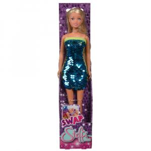 Papusa Simba Steffi Love Swap 29 cm cu rochie albastru1