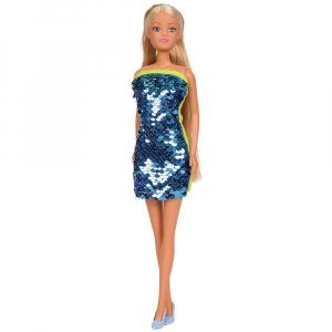 Papusa Simba Steffi Love Swap 29 cm cu rochie albastru0