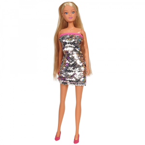 Papusa Simba Steffi Love Swap 29 cm cu rochie gri0