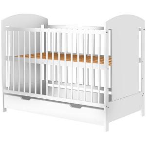 Patut copii din lemn Hubners Kamilla 120x60 cm alb cu sertar [0]