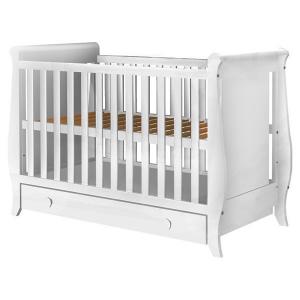 Patut copii din lemn Hubners Mira 120x60 cm alb cu sertar0