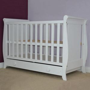 Patut copii din lemn Hubners Mira 120x60 cm alb cu sertar1
