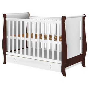 Patut copii din lemn Hubners Mira 120x60 cm alb-venghe cu sertar0
