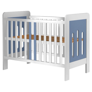 Patut copii din lemn Hubners Sophie 120x60 cm alb-albastru0