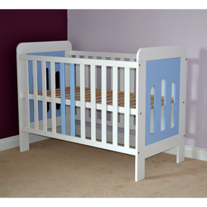 Patut copii din lemn Hubners Sophie 120x60 cm alb-albastru1