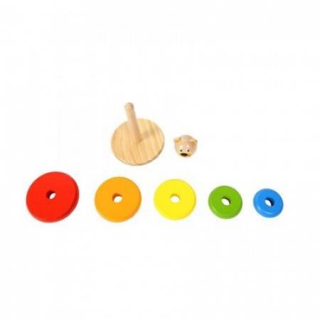 Piramida de stivuit cu inele colorate si ursulet din lemn1
